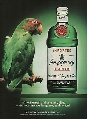 1989 Tanqueray Gin Why Give A Gift That Says Very Little Parrot Vintage Print Ad • 5.25£