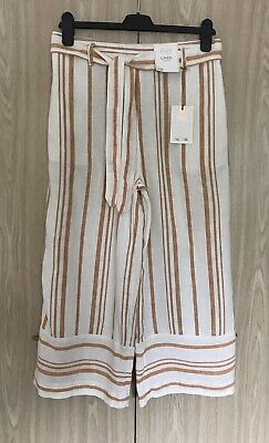 Ladies Linen Blend Striped Cropped Trousers Size 10 R Pull On Style • 8.99£