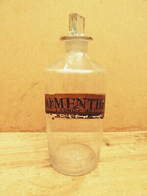 Antique Medium Apothecary / Chemist / Pharmacy Bottle - Aq: Menth: P: • 19.99£
