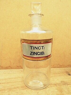 Antique Medium-size Apothecary / Chemist / Pharmacy Bottle - Tinct: Zingib: • 19.99£