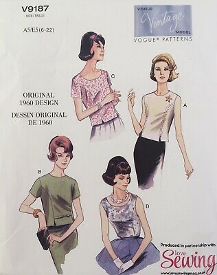 £15 • Buy Vogue V9187 Ladies Vintage 60s Retro Shirt Top Blouse Fitted New Uncut Pattern