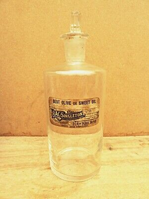 ANTIQUE MEDIUM APOTHECARY / CHEMIST / PHARMACY BOTTLE - BEST OLIVE Or SWEET OIL • 12.99£
