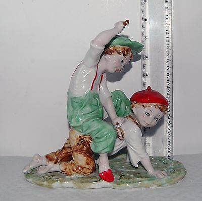 $ CDN26.36 • Buy Vintage Porcelain Figurine Boys Playing Horse Riding