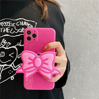 AU7.99 • Buy For IPhone 11 Pro XS Max XR 7 8+ Cute Girl Pink Bow Stand Holder Soft Phone Case