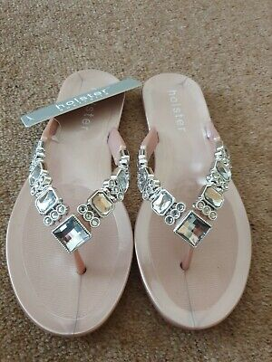 Holster Rose Gold Pink Toe Post Sandal Flip Flop Jewelled SIZE 4 BNWT RRP £38 • 15£