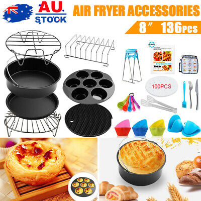 AU30.90 • Buy 8 Inch Air Fryer Accessories Frying Cage Dish Baking Pan Rack Pizza Tray Pot 143