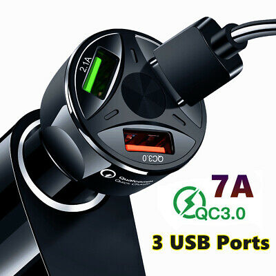 $ CDN8.15 • Buy 3 Port USB QC 3.0 Fast Car Charger Quick Charging For Samsung IOS Android A+ QUA