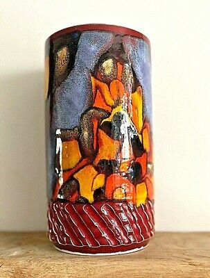 Vintage Poole Pottery 'Delphis' Shape #84 Carved Hand Painted Vase-1960s • 40£
