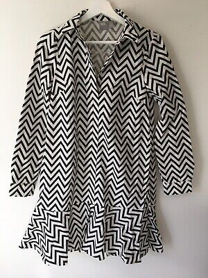 AU27 • Buy ASOS Black Cream Chevron Shirt Dress Fluted Hem AU 4