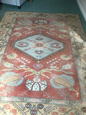 Beautiful Large Vintage Wool Rug Lovely Colours Cream Reds And Turquoise   • 60£