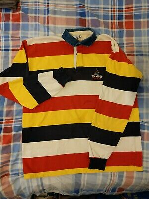 England Cricket Rugby Style Shirt Men XL World Cup 1999 ICC Cricket Stripes Rare • 19.99£