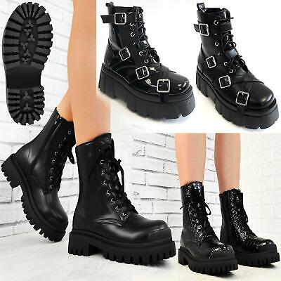 Womens Chunky Strike Ankle Boots Thick Serrated Lug Sole Lace Up Fashion Shoes • 15.99£