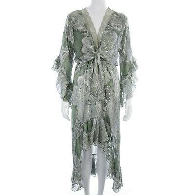 Women's Briefly Green Paisley Frill Sleeve High Low Midi Dress Size S/M • 15£