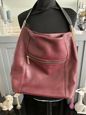 Autograph M&s Burgundy Bordeaux Soft Genuine Leather Tote Shoulder Bag Large • 24.99£