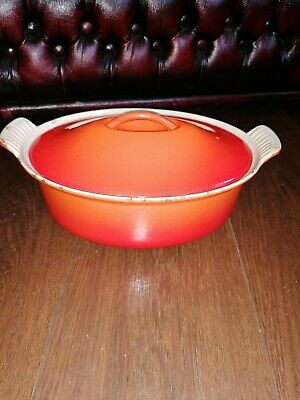 Le Creuset Vintage Orange Oval 26 Cm Casserole Oven Dish With Lid • 35£