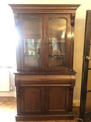 Antique Victorian Mahogany Glazed Display Cabinet Bookcase Dresser With Bureau • 53£
