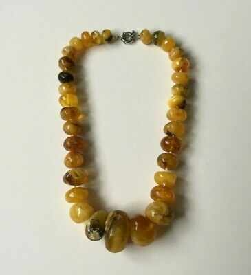 Vintage Butterscotch Egg Yolk Yellow Amber Large Chunky Bead Necklace 110.1g • 85£