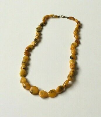 Vintage Butterscotch Egg Yolk Yellow Amber Bead Necklace 23.9gNatural Gemstone • 65£