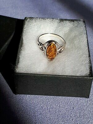 Sterling Silver Celtic Design Topaz Ring. Size N. Stamped. In Box. Used. VGC • 9.50£