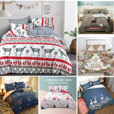 AU25 • Buy Christmas Ultra Soft Quilt Doona Duvet Cover Set Single Double Queen King Gift