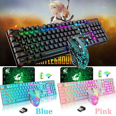 AU52.63 • Buy AU Wireless Gaming Keyboard And Mouse LED Backlit Mousepad For PC Mac PS4 Xbox