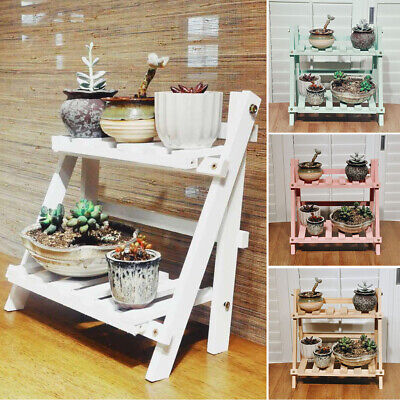 Wooden Plant Flower Pot Display Stand Shelves Tabletop Indoor Storage Rack Decor • 10.95£