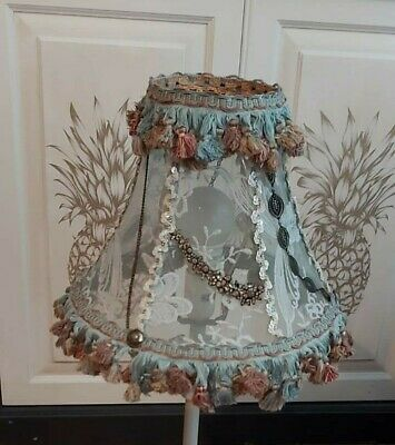 Lampshade - Fringed, Vintage / Boho Style, Handcrafted With Lace • 58.80£