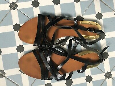 Other Stories Black Gladiator Sandals With Gold Detail Size 41  • 3.99£
