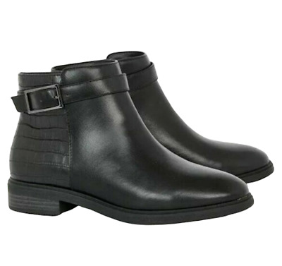 Ex Evans Women's Croc Panel Extra Wide Fit Eee Ankle Boots Shoes Rrp £47 • 24.99£