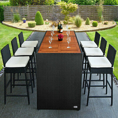 Poly Rattan Bar Set Garden Furniture Table Stools Outdoor Patio Conservatory BBQ • 339.95£