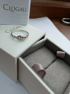 Clogau Welsh Gold / Silver White Topaz Three Stone Ring Size O New Qvc • 55£