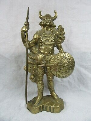 Vintage Solid Brass Viking Norseman - Nordic Axe Figure Statue - 2.2kg - 9  Tall • 24.99£