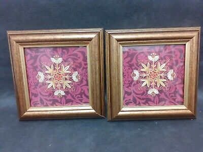 Pair Of Past Times Aubergine Damask Picture Frames 12 X 12 Cm Aperture • 2.99£