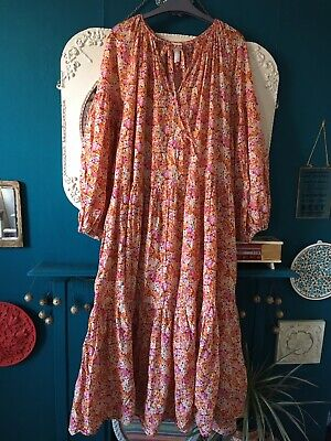 Lovely H&M Pink/orange Ditsy Floral Flowy Smock Dress Size Large 16/18. • 4.20£