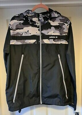 Adidas Mens Black And Grey Camo Detail Shell Suit Type Tracksuit Top Size Large  • 9.50£