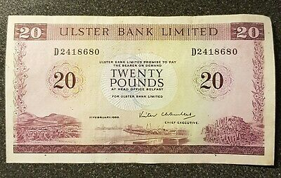 Used In Good Condition 1988 Ulster Bank Vintage £20 Twenty Pound Note. D2418680 • 34.99£