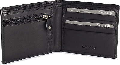 SADDLER Mens Genuine Leather 2 Section 10 Credit Card Tab Billfold Wallet With | • 23.43£