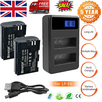 2X LP-E6 Battery + LCD Dual Charger For Canon 5D Mark II III IV 60D 60Da 70D 80D • 17.49£