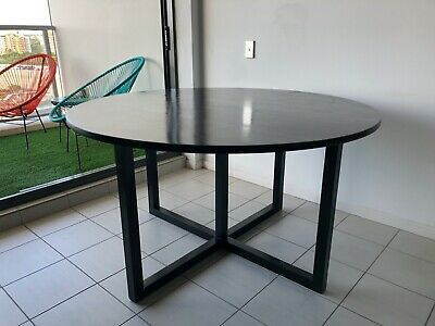 AU290 • Buy Round Black Wooden Dining Table