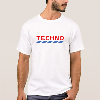 Men's White TECHNO TESCO T-Shirt Rave Dance Logo Funny Festival Session Top Joke • 8.99£