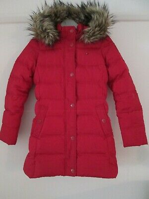 Girls Padded Coat From Tommy Hilfiger Hooded Fur Trimmed Size 152 Age 12-13 Red. • 25£