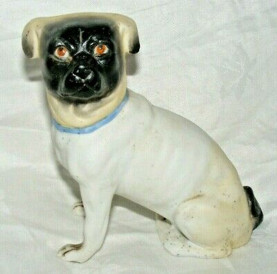 Antique German Porcelain Bisque Pug Dog Figure Figurine 5 Inches High • 54.99£