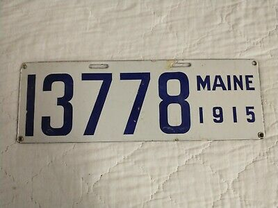 $ CDN114.61 • Buy 1915 Maine PORCELAIN License Plate Tag