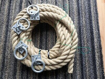 10 Mtrs X 30 Mm Thick Heavy Duty Jute Rope And 4 Fixing Rings • 18£