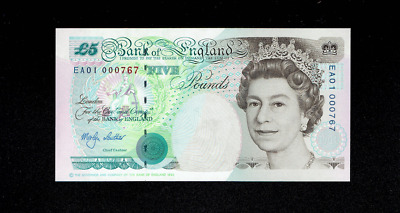 Bank Of England 5 Pound Bank Note, British, English, Unc? Gem Out Of Circulation • 10.51£