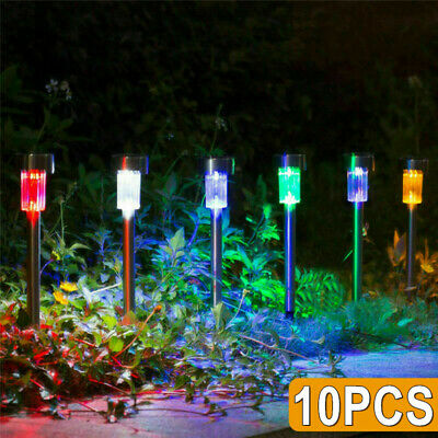 10x Solar Powered Stainless Steel Led Post Stake Lights Garden Patio Colorful UK • 9.49£