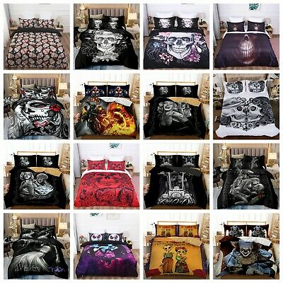 Skull Duvet Quilt Cover Gothic 3D Bedding Set Pillowcases Single Double King Hot • 24.99£