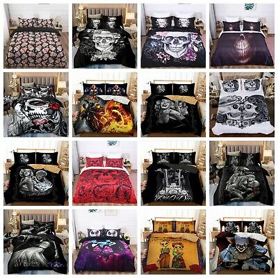 Skull Duvet Quilt Cover Gothic 3D Bedding Set Pillowcases Single Double King Hot • 22.55£
