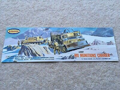 RARE C1950s AURORA PLAYCRAFT HOBBY KITS ARMY M8 MUNITIONS CARRIER KIT BOX FRONT • 4.99£