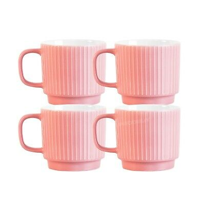£19.99 • Buy Set Of 4 Coral Pink Fine China Coffee Mugs 13oz Large 370ml Stackable Tea Cups